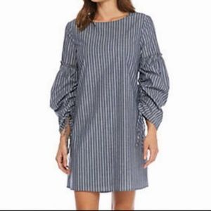Charles Henry striped ruched puffy sleeve dress S